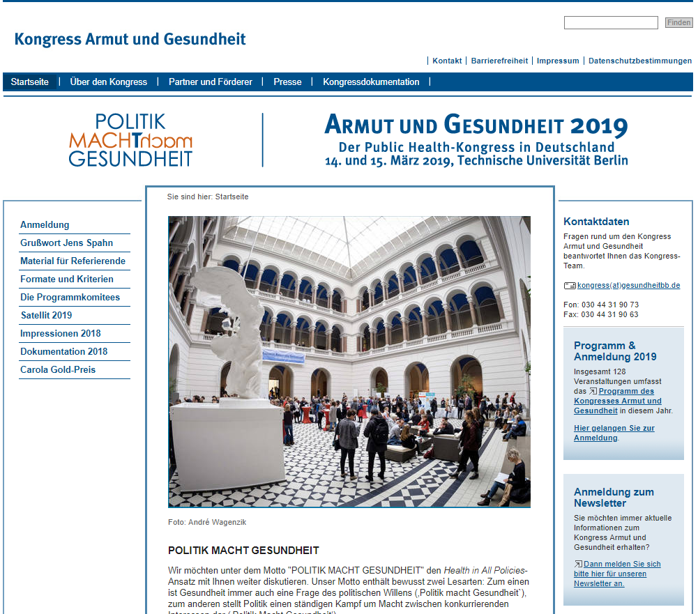 Berlin, 14 – 15 March 2019 - Congress Poverty and Health